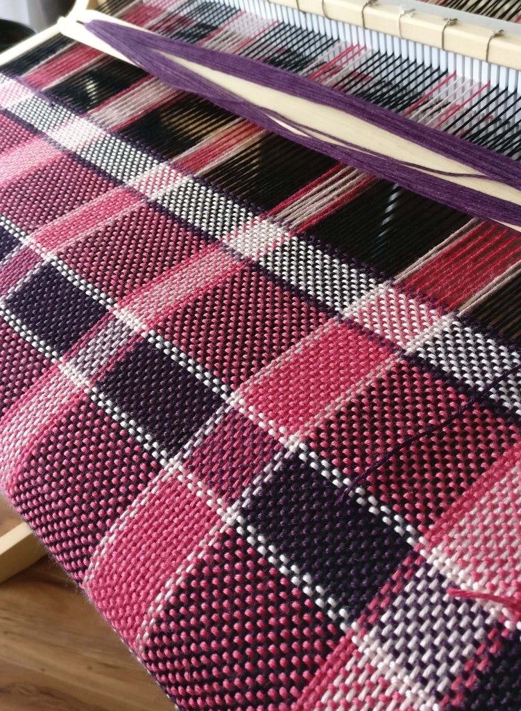 This work in progress is being woven with a blend of bamboo and silk.
