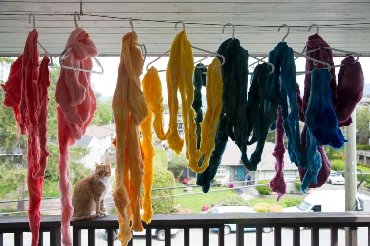 Hand dyed wool waiting to be spun