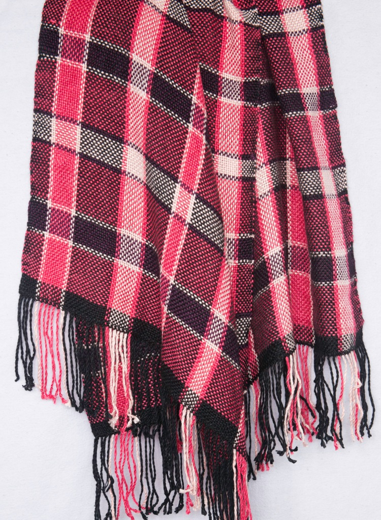 Pink purple and black bamboo silk shawl